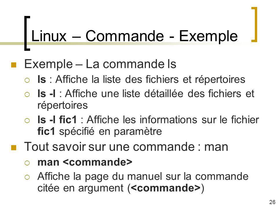 Linux – Commande - Exemple