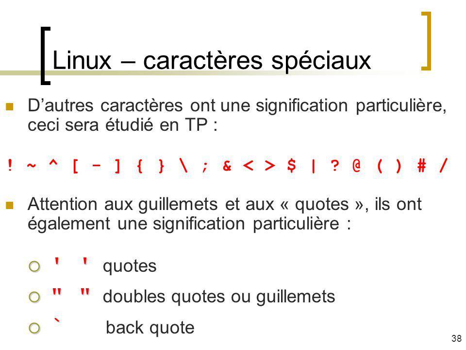 Linux – caractères spéciaux