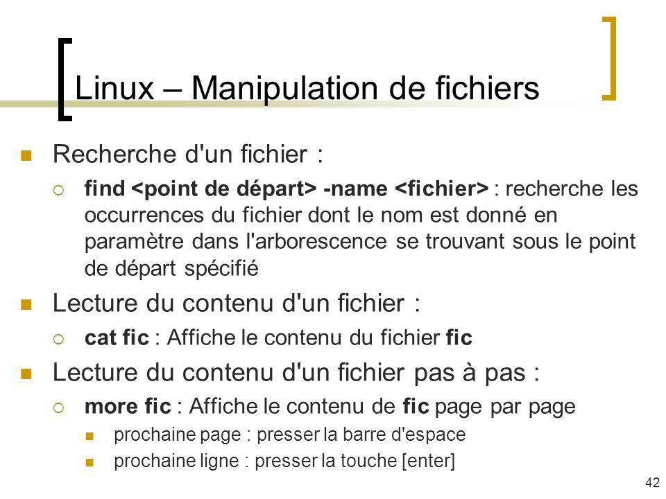 Linux – Manipulation de fichiers