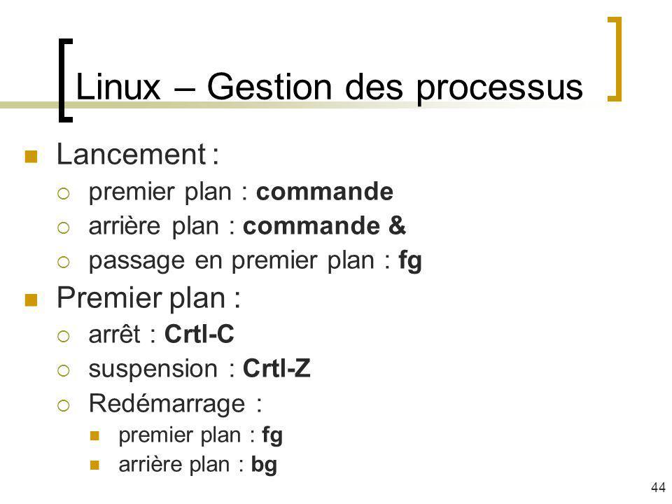 Linux – Gestion des processus