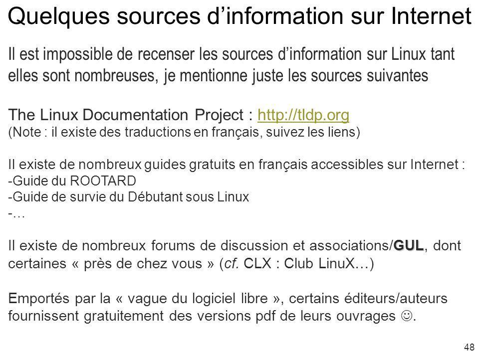 Quelques sources d'information sur Internet