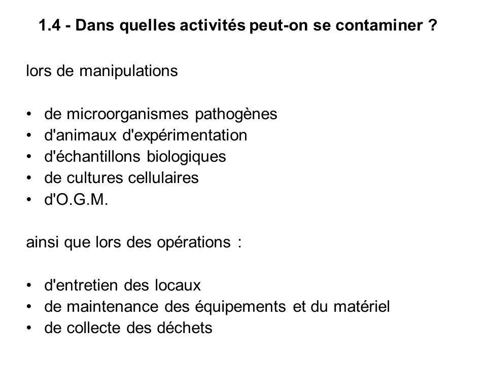 1.4 - Dans quelles activités peut-on se contaminer
