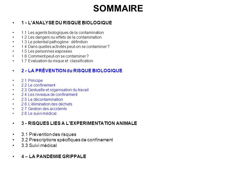 SOMMAIRE 1 - L ANALYSE DU RISQUE BIOLOGIQUE