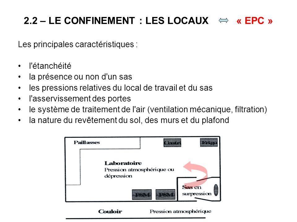 2.2 – LE CONFINEMENT : LES LOCAUX « EPC »