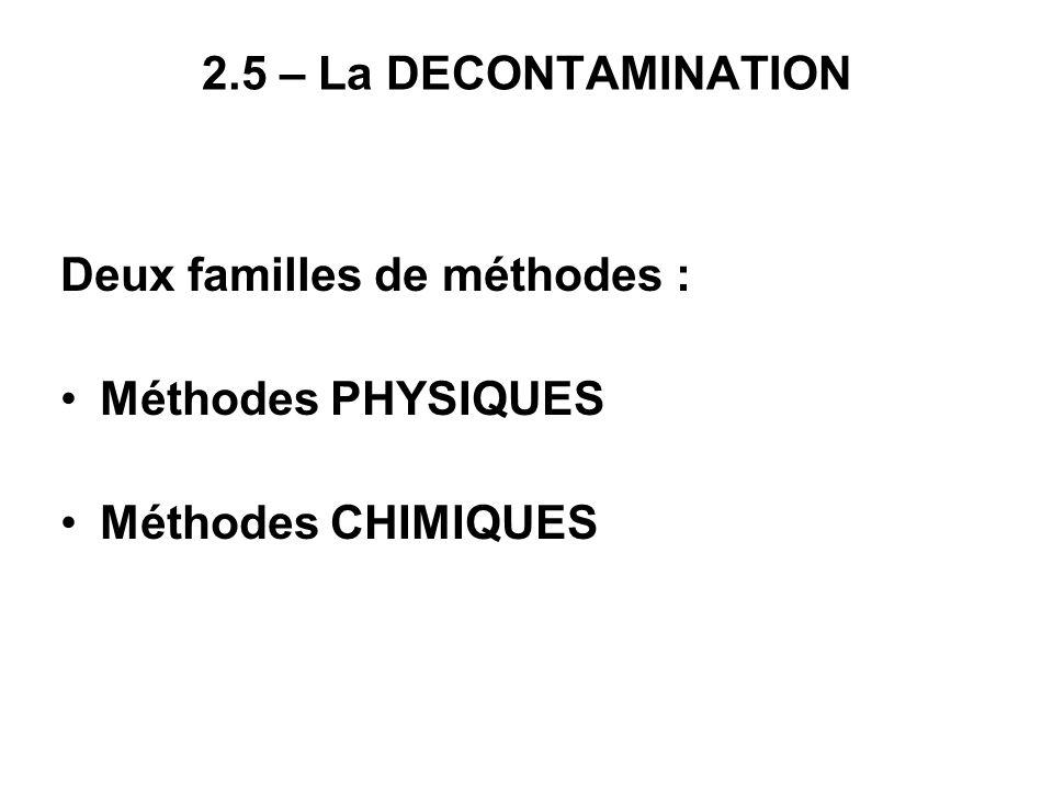 2.5 – La DECONTAMINATION Deux familles de méthodes : Méthodes PHYSIQUES Méthodes CHIMIQUES