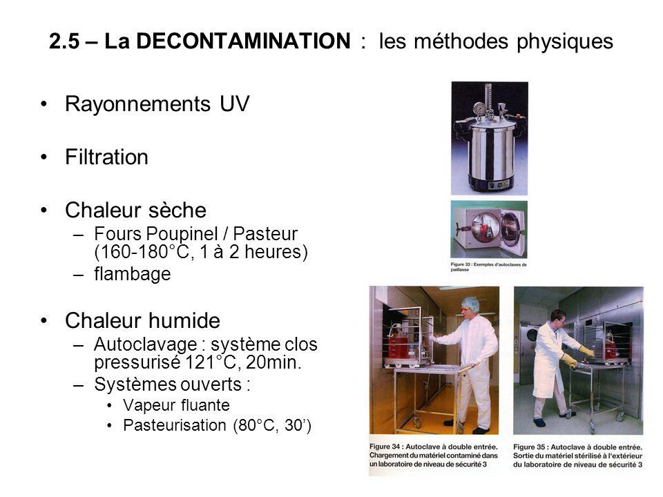 2.5 – La DECONTAMINATION : les méthodes physiques