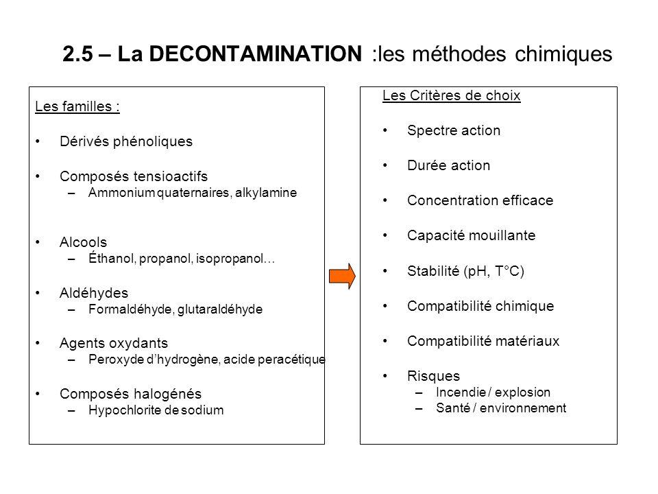 2.5 – La DECONTAMINATION :les méthodes chimiques