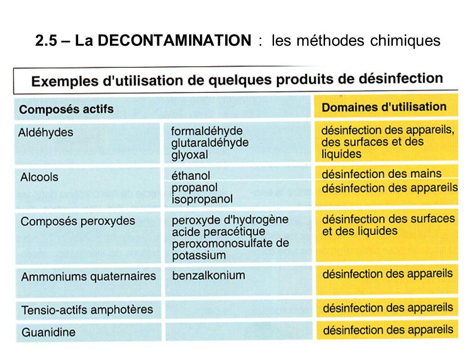 2.5 – La DECONTAMINATION : les méthodes chimiques