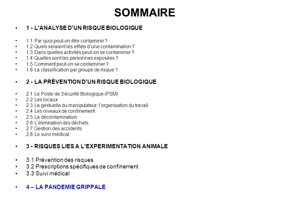 SOMMAIRE 1 - L ANALYSE D UN RISQUE BIOLOGIQUE