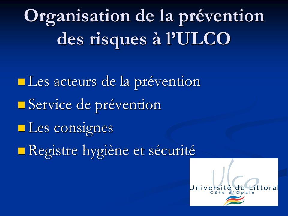 Organisation de la prévention des risques à l'ULCO