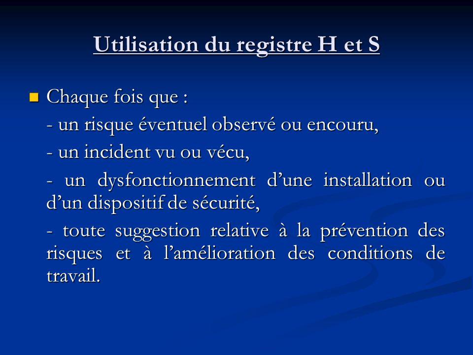 Utilisation du registre H et S
