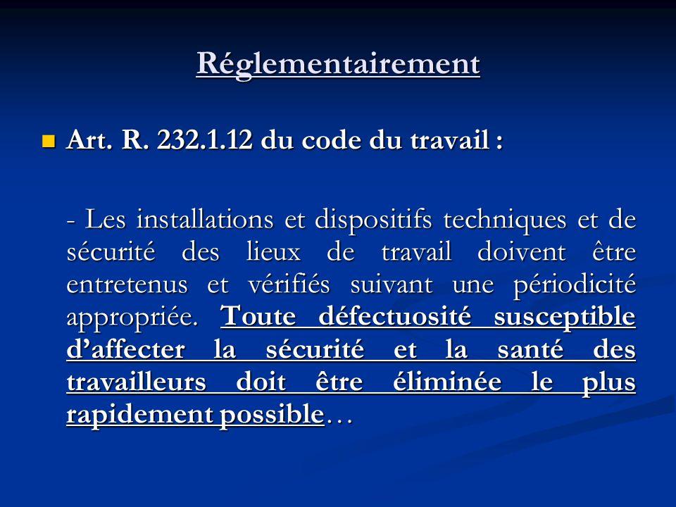 Réglementairement Art. R. 232.1.12 du code du travail :