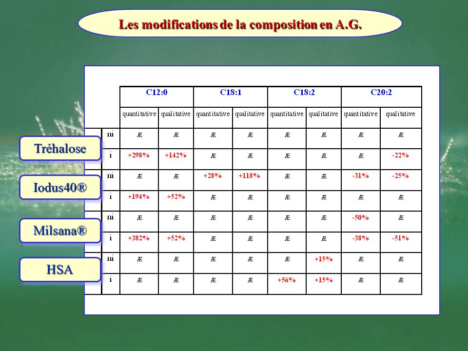 Les modifications de la composition en A.G.