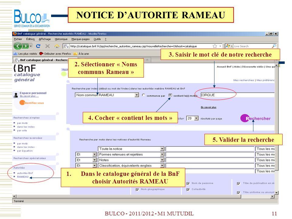 NOTICE D'AUTORITE RAMEAU
