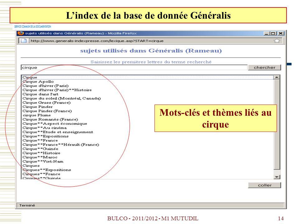 L'index de la base de donnée Généralis