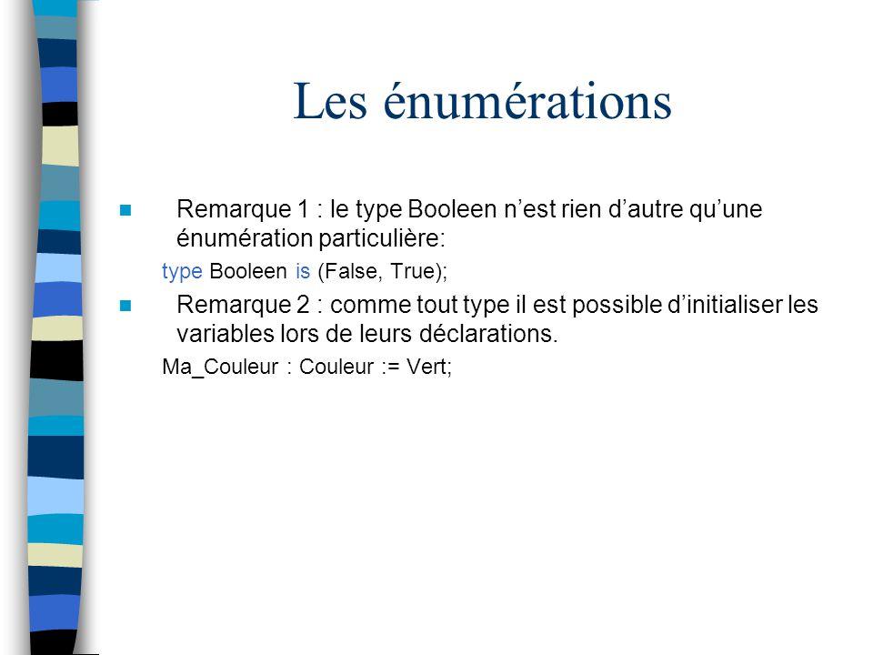 Les énumérations Remarque 1 : le type Booleen n'est rien d'autre qu'une énumération particulière: type Booleen is (False, True);