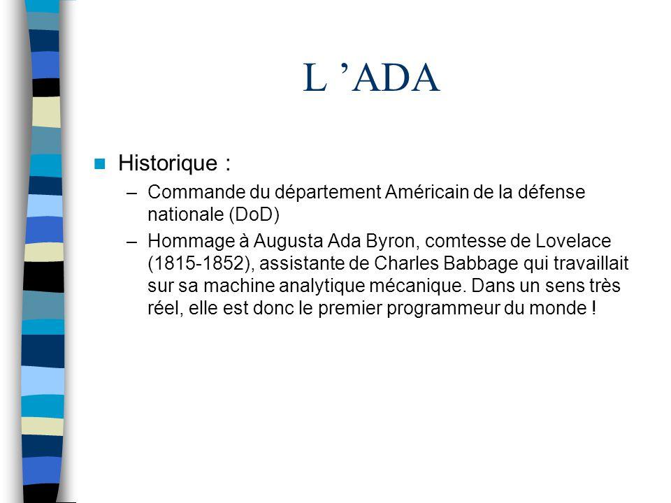 L 'ADA Historique : Commande du département Américain de la défense nationale (DoD)