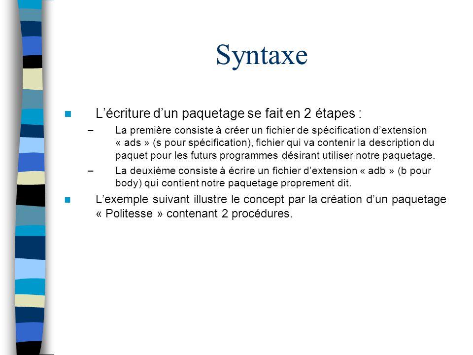 Syntaxe L'écriture d'un paquetage se fait en 2 étapes :