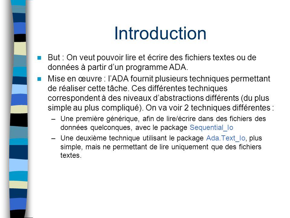 Introduction But : On veut pouvoir lire et écrire des fichiers textes ou de données à partir d'un programme ADA.
