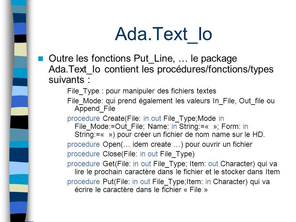 Ada.Text_Io Outre les fonctions Put_Line, … le package Ada.Text_Io contient les procédures/fonctions/types suivants :