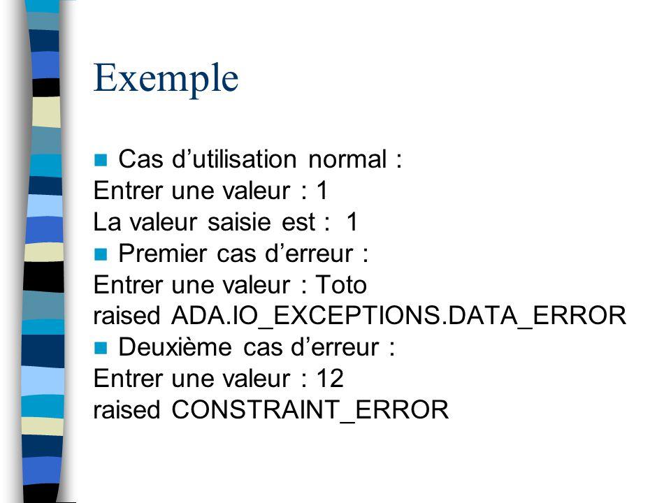 Exemple Cas d'utilisation normal : Entrer une valeur : 1