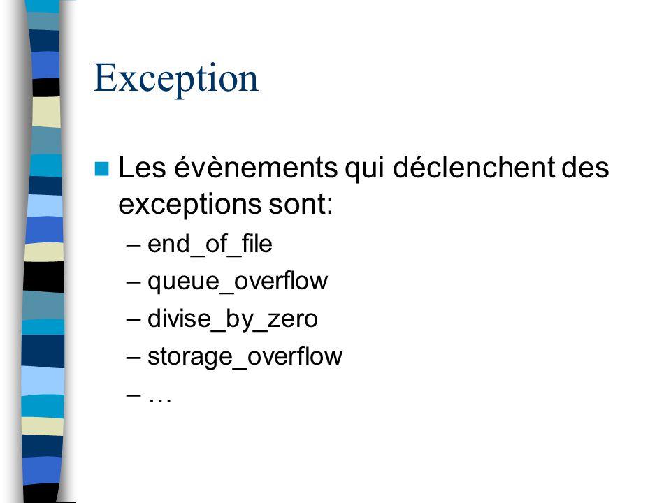 Exception Les évènements qui déclenchent des exceptions sont:
