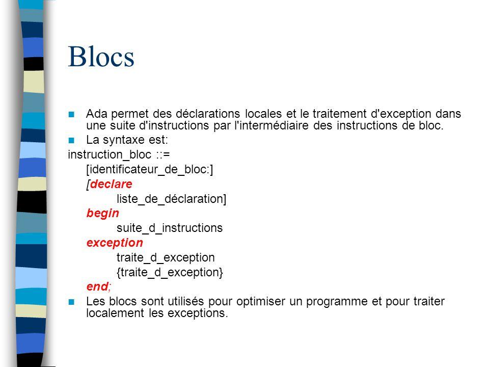 Blocs Ada permet des déclarations locales et le traitement d exception dans une suite d instructions par l intermédiaire des instructions de bloc.