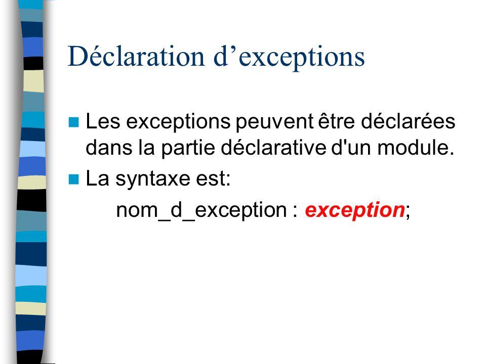 Déclaration d'exceptions
