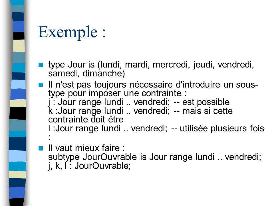 Exemple : type Jour is (lundi, mardi, mercredi, jeudi, vendredi, samedi, dimanche)