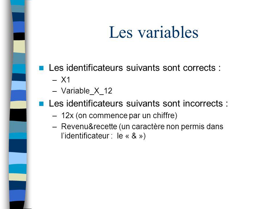 Les variables Les identificateurs suivants sont corrects :