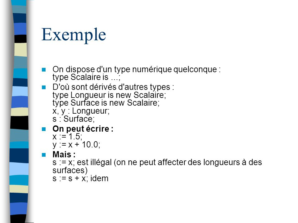 Exemple On dispose d un type numérique quelconque : type Scalaire is ...;