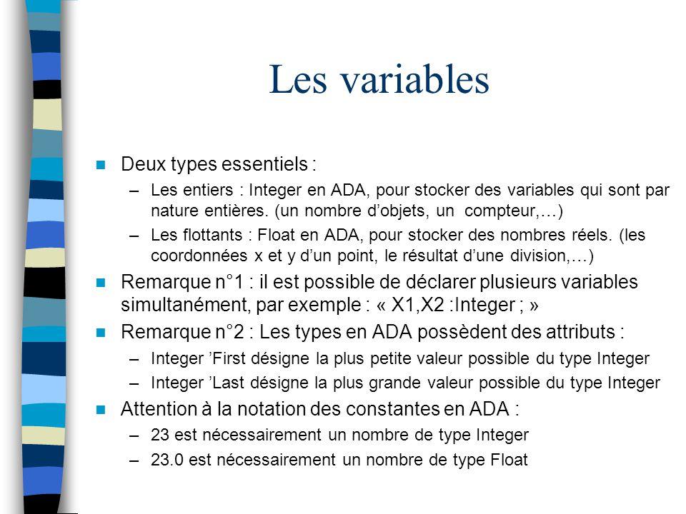 Les variables Deux types essentiels :