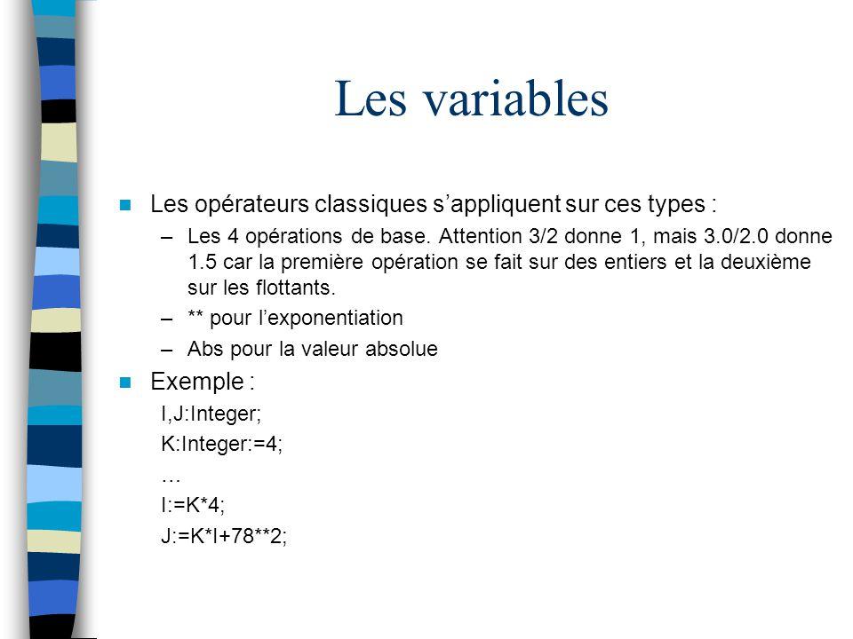 Les variables Les opérateurs classiques s'appliquent sur ces types :