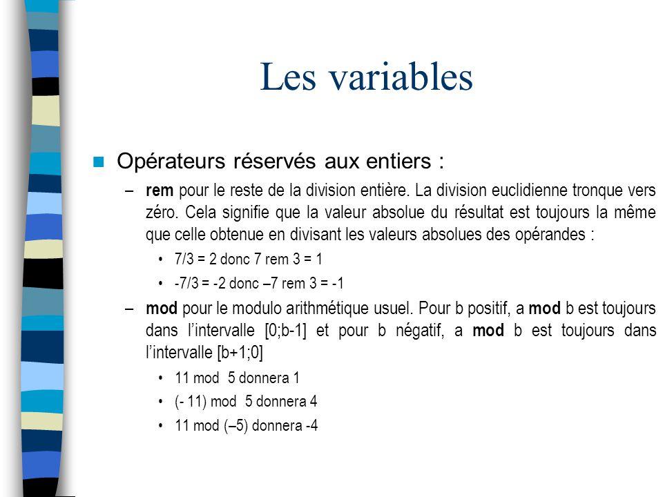 Les variables Opérateurs réservés aux entiers :