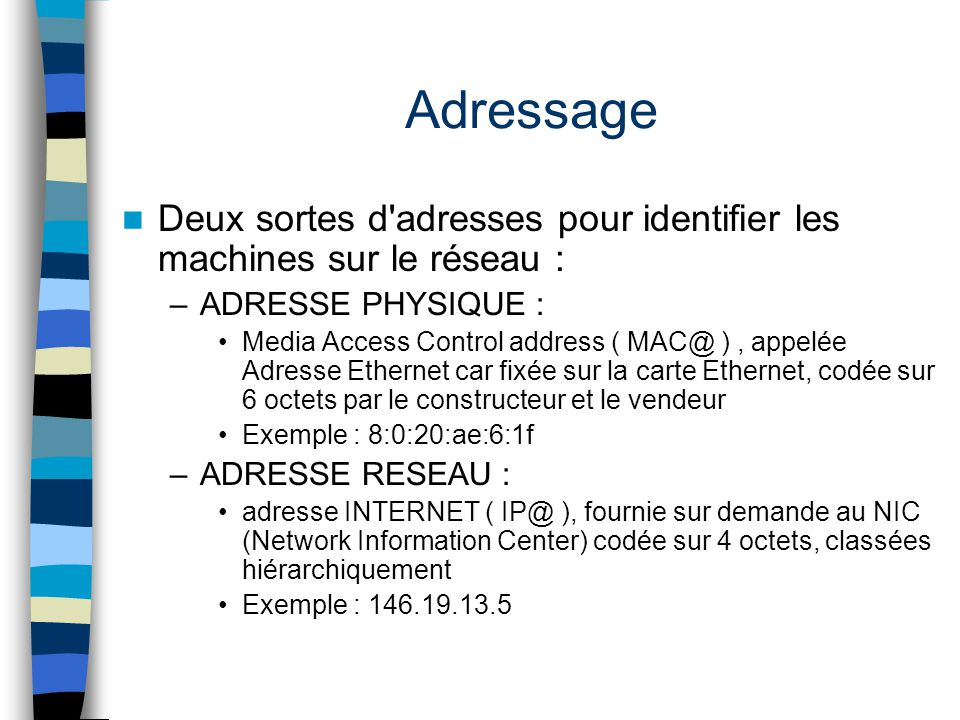 Adressage Deux sortes d adresses pour identifier les machines sur le réseau : ADRESSE PHYSIQUE :