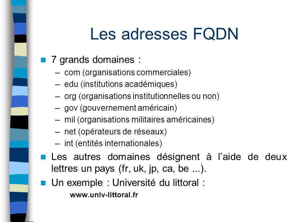 Les adresses FQDN 7 grands domaines :