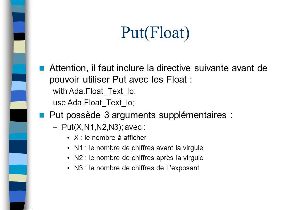Put(Float) Attention, il faut inclure la directive suivante avant de pouvoir utiliser Put avec les Float :