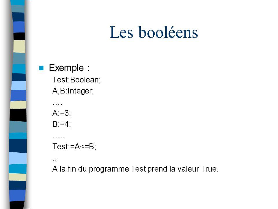 Les booléens Exemple : Test:Boolean; A,B:Integer; …. A:=3; B:=4; …..