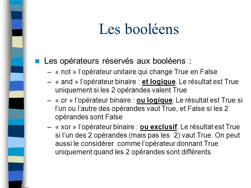 Les booléens Les opérateurs réservés aux booléens :