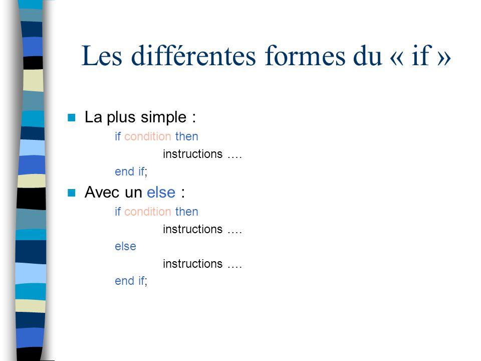 Les différentes formes du « if »