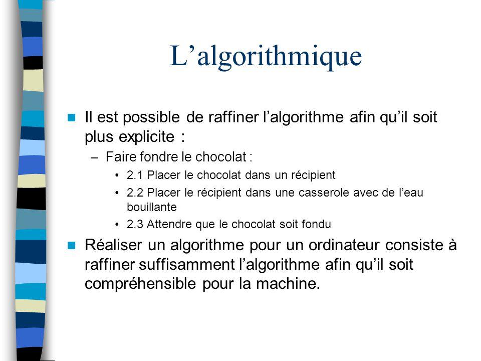 L'algorithmique Il est possible de raffiner l'algorithme afin qu'il soit plus explicite : Faire fondre le chocolat :