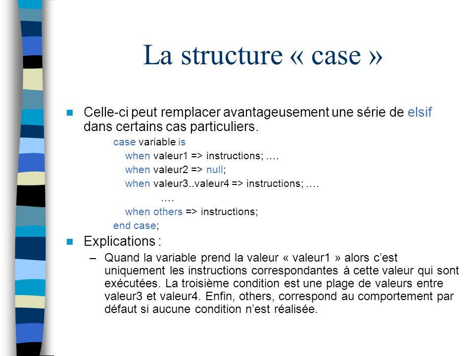 La structure « case » Celle-ci peut remplacer avantageusement une série de elsif dans certains cas particuliers.
