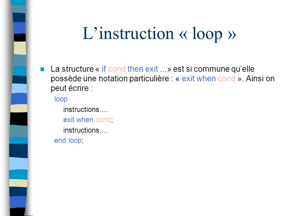 L'instruction « loop »