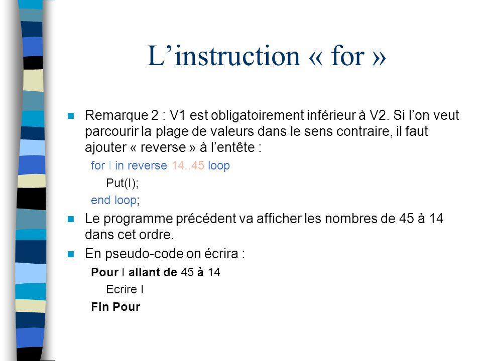 L'instruction « for »