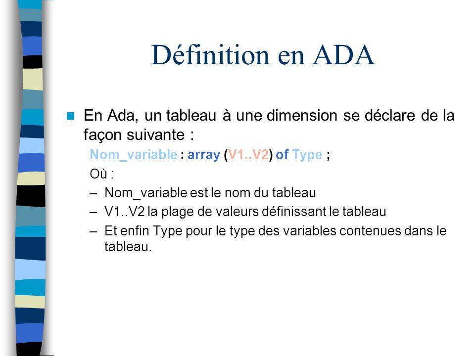 Définition en ADA En Ada, un tableau à une dimension se déclare de la façon suivante : Nom_variable : array (V1..V2) of Type ;