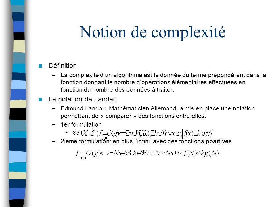 Notion de complexité Définition La notation de Landau