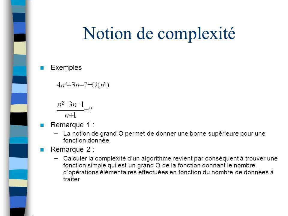 Notion de complexité Exemples Remarque 1 : Remarque 2 :