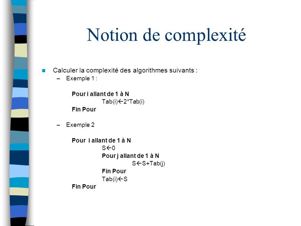 Notion de complexité Calculer la complexité des algorithmes suivants :