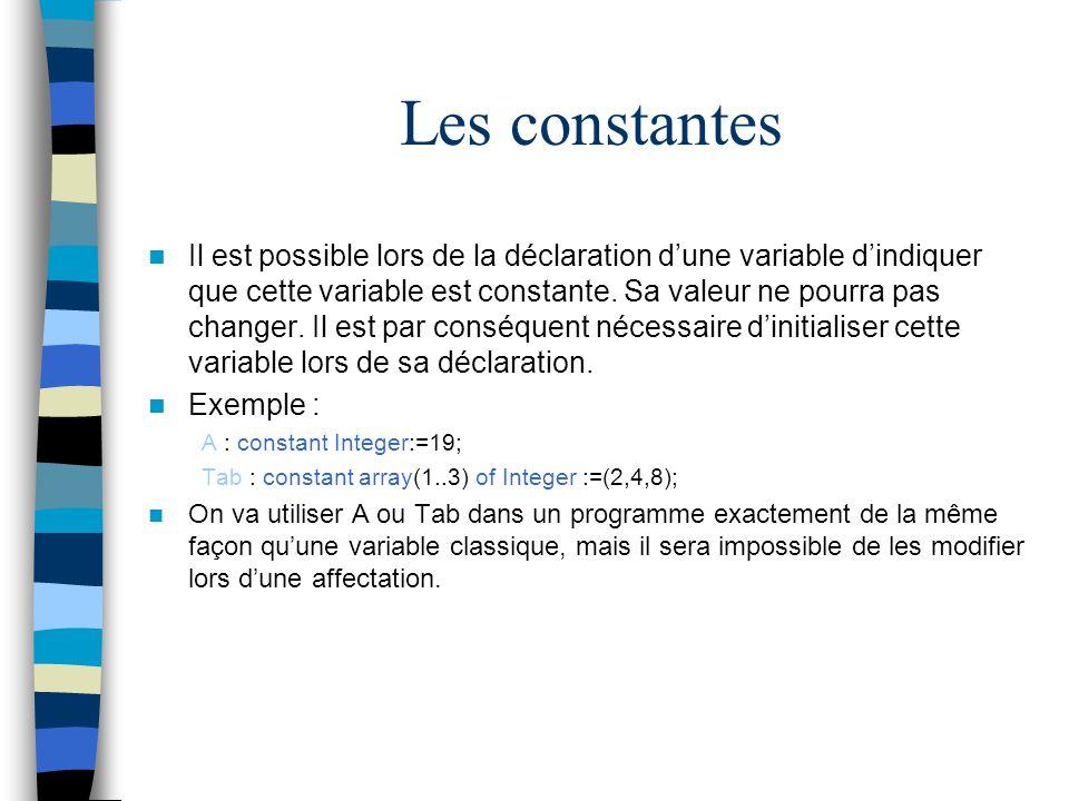 Les constantes