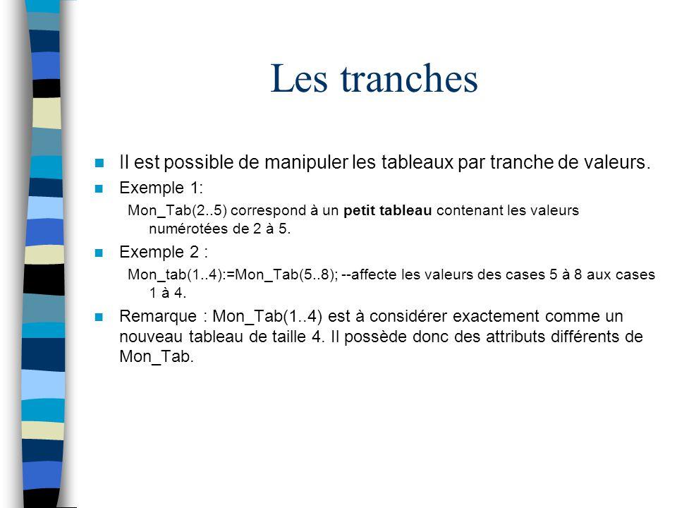 Les tranches Il est possible de manipuler les tableaux par tranche de valeurs. Exemple 1: